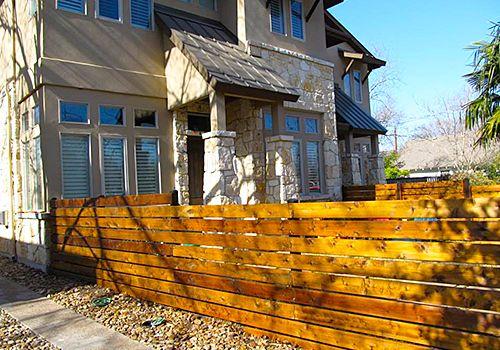 Horizontal Plank Fencing Design Company Austin Texas